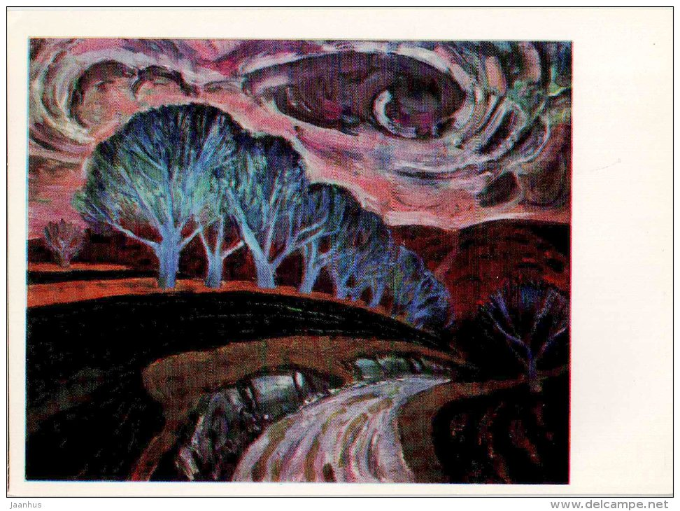 painting by I. Vieru - Nut-trees , 1967 - moldavian art - unused - JH Postcards