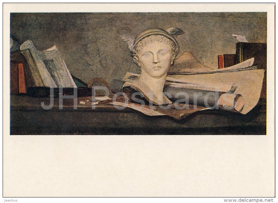 painting by Jean-Baptiste-Simeon Chardin - Still Life . Attributes of Art - French art - 1955 - Russia USSR - unused - JH Postcards