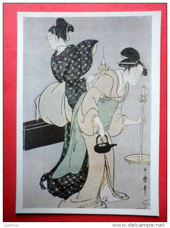 engraving by Utamaro - Geisha with candlesticks - teapot - Japanese colour print - japanese art - unused - JH Postcards