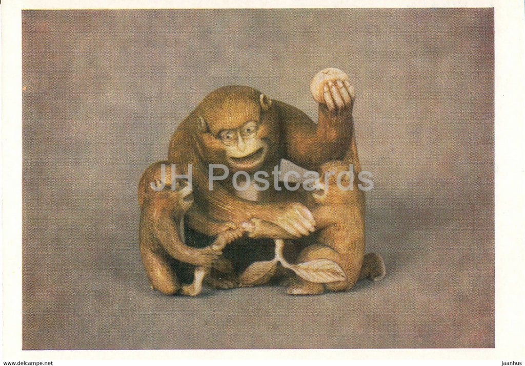 Netsuke - Monkey with cubs - bone - Japanese art - 1987 - Russia UUSR - unused - JH Postcards