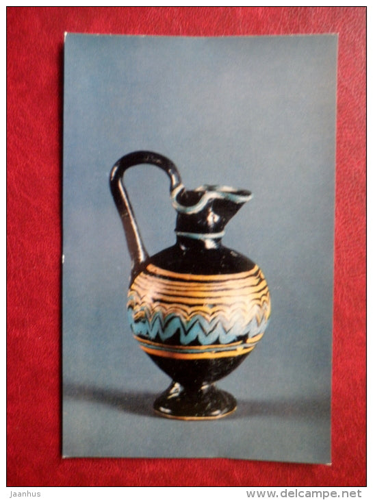 Flasks decorated with coloured threads , Egypt , 5th century BC - Antique Glass - 1974 - Russia USSR - unused - JH Postcards
