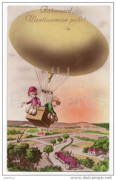 Easter Greeting Card - boy and girl - egg - balloon - old car - RIP 1690 - circulated in Estonia Tallinn 1930 - JH Postcards
