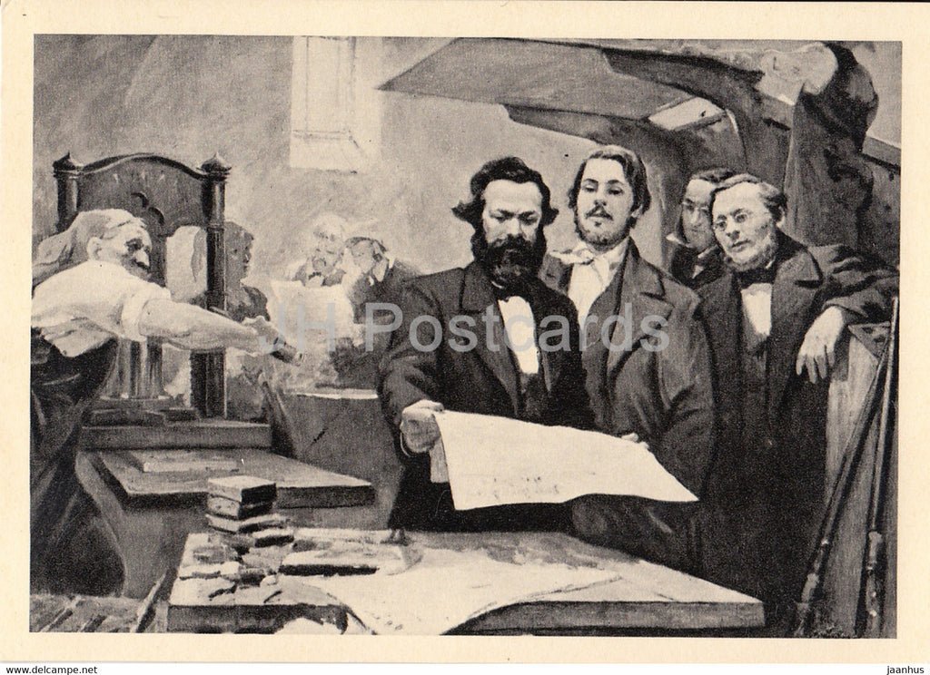 Karl Marx and Friedrich Engels at the printing house of the New Rhine Newspaper - 1967 - Russia USSR - unused - JH Postcards