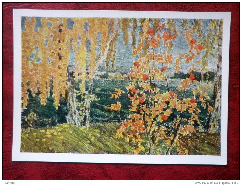 Painting by I. Grabar - rowan tree , 1915 - russian art - unused - JH Postcards