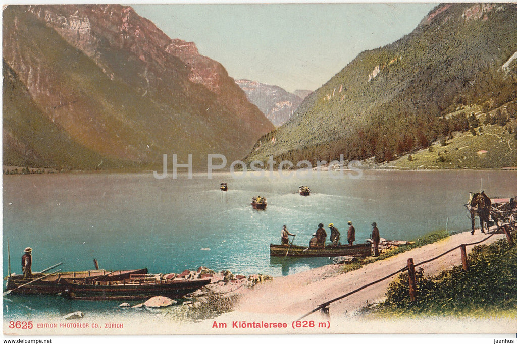 Am Klontalersee - boat - 3625 - old postcard - 1907 - Switzerland - used - JH Postcards