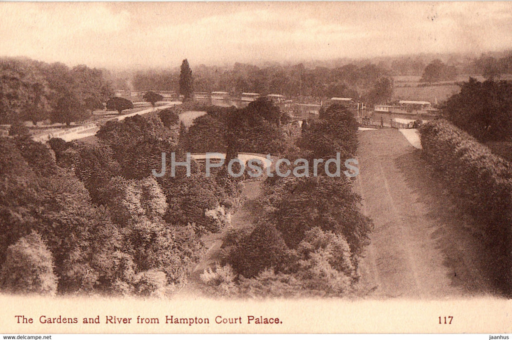 The Gardens and River from Hampton Court Palace - 117 - old postcard - England - United Kingdom - unused - JH Postcards