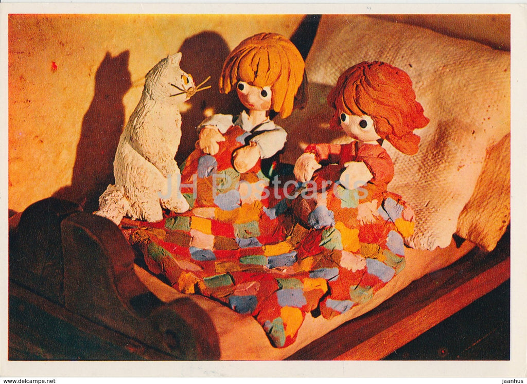 Hansel and Gretel by Brothers Grimm - cat - bed - dolls - Fairy Tale - 1975 - Russia USSR - unused - JH Postcards