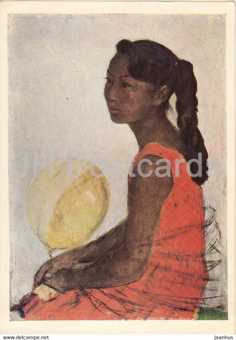 painting by A. Stroganov - Mongolian Girl - Mongolian art - 1966 - Russia USSR - unused - JH Postcards