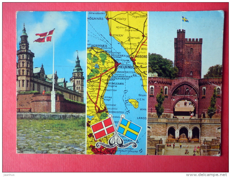 Kronborg Castle - map - Helsingor - Helsingborg - Denmark - Sweden - sent from Finland to Estonia USSR 1975 - JH Postcards