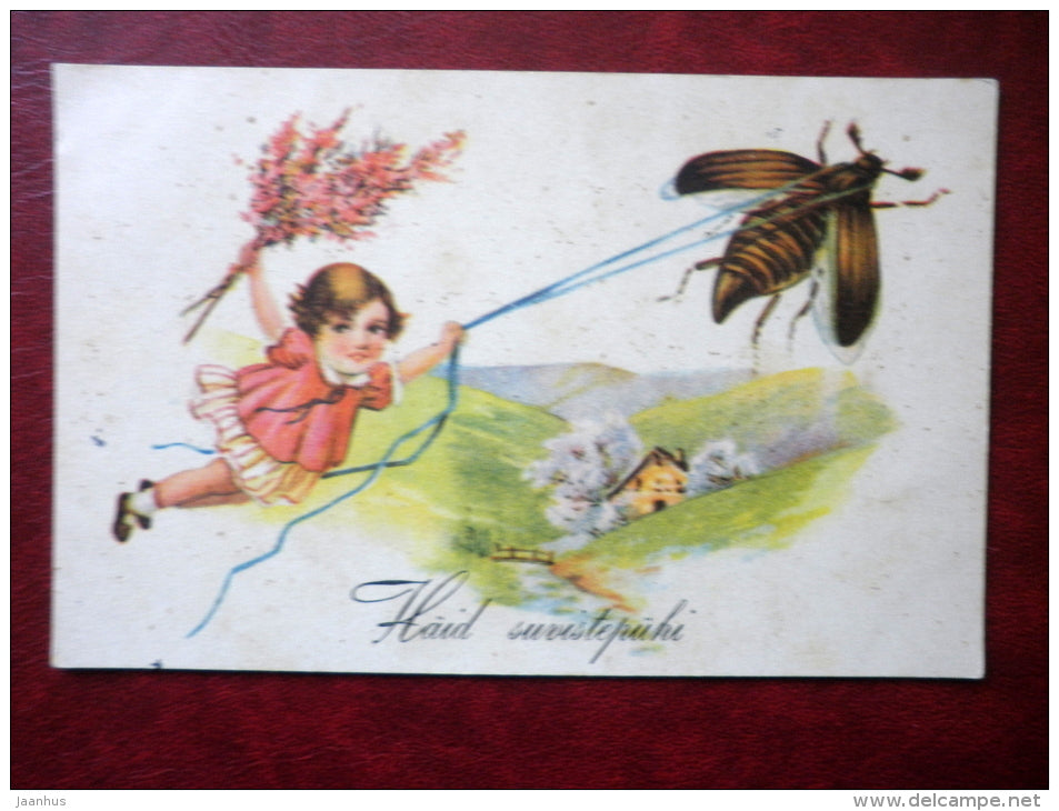 Pentecost Greeting Card - girl - beetle - WO 1235 - circulated in Estonia 1938 - Estonia - used - JH Postcards