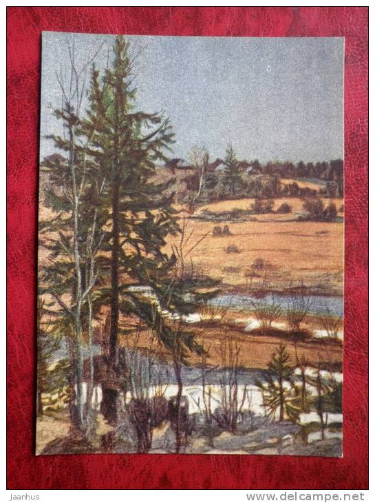Painting by I. A. Sokolov - fir-tree - russian art - unused - JH Postcards