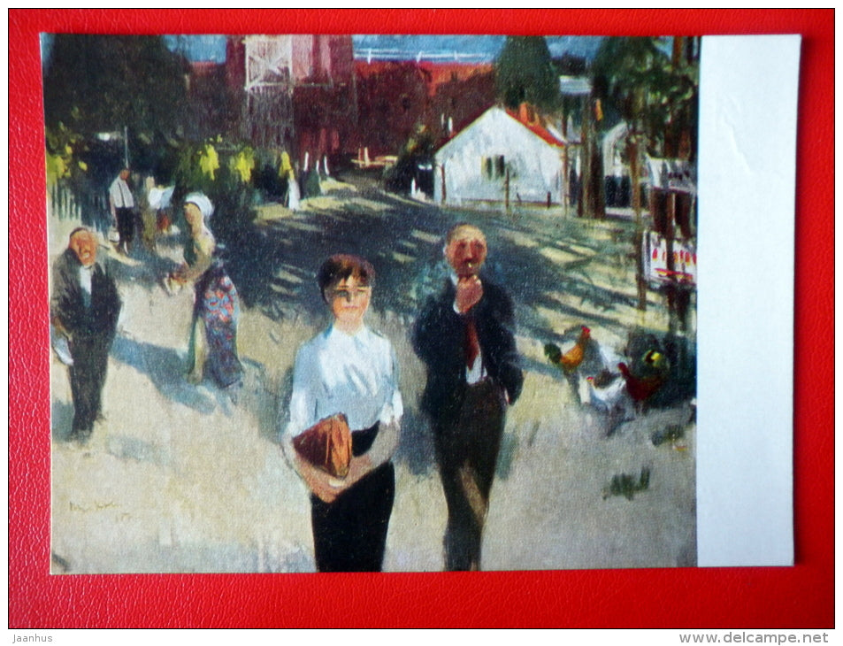 painting by L. Miskolci . Morning in Stalinvaros - street - hungarian art - unused - JH Postcards