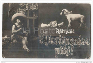 Easter Greeting Card - egg - boy - dog - 21 221 - circulated in Estonia 1920s - JH Postcards