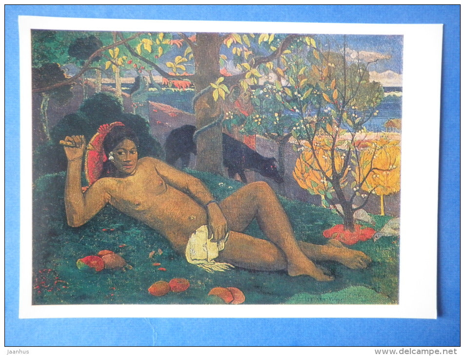 painting by Paul Gauguin - The King`s Wife , 1896 - woman - french art - unused - JH Postcards