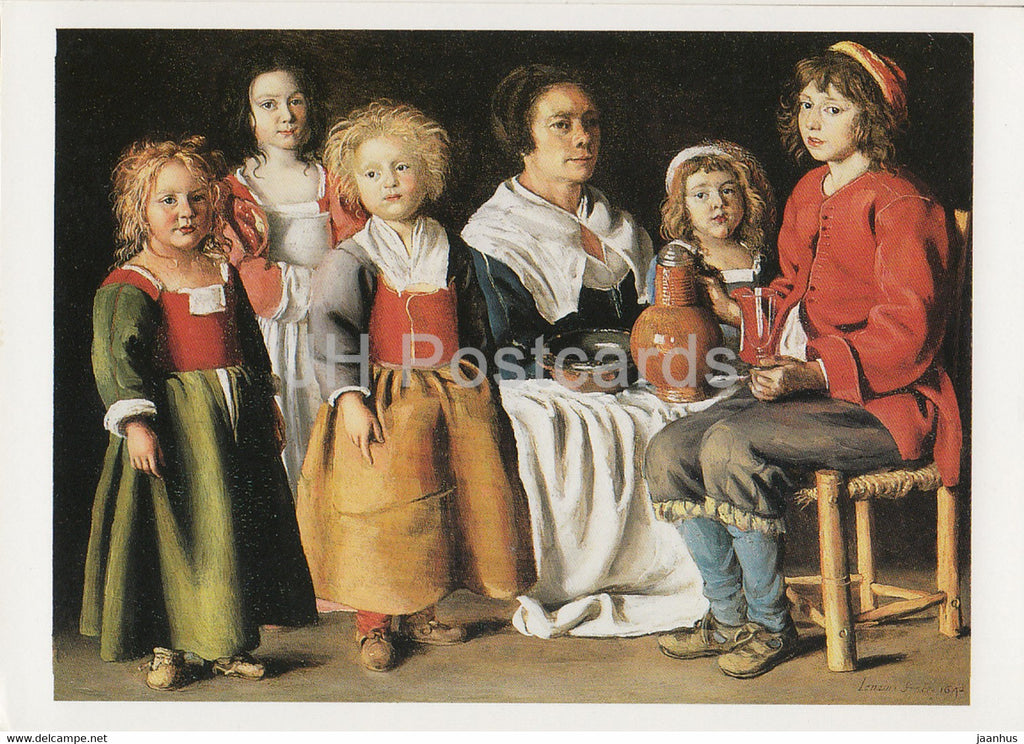 painting by The Le Nain Brothers - A Woman and Five Children - French art - Great Britain - unused - JH Postcards