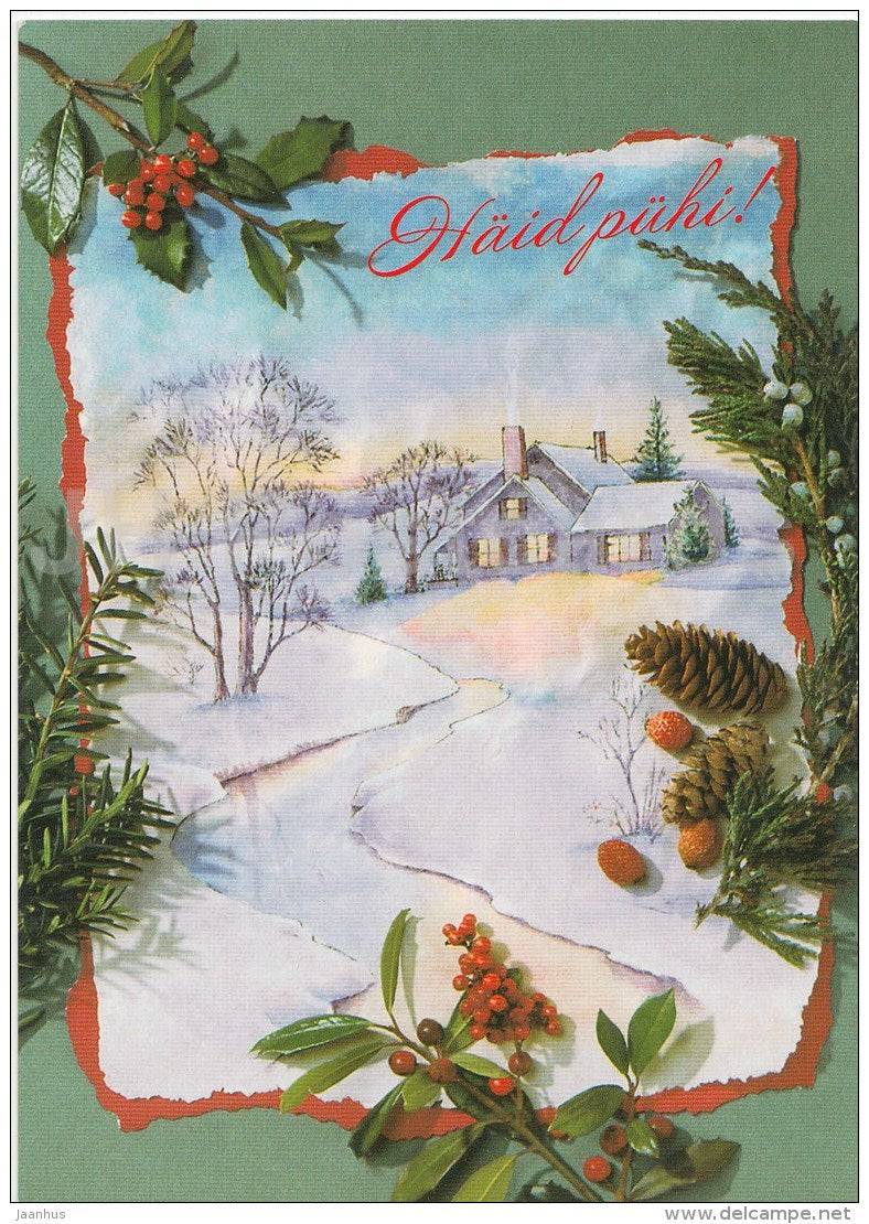 Christmas Greeting Card - house - illustration - Estonia - used in 1999 - JH Postcards