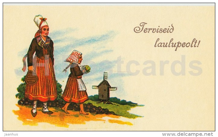 Greetings from Song Festival - folk costumes - mini greeting card - 1990 - Estonia USSR - unused - JH Postcards
