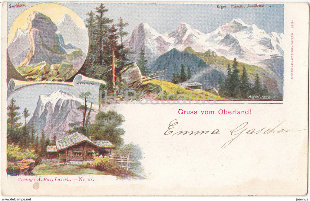 Gruss vom Oberland - 57 - old postcard - 1904 - Switzerland - used - JH Postcards