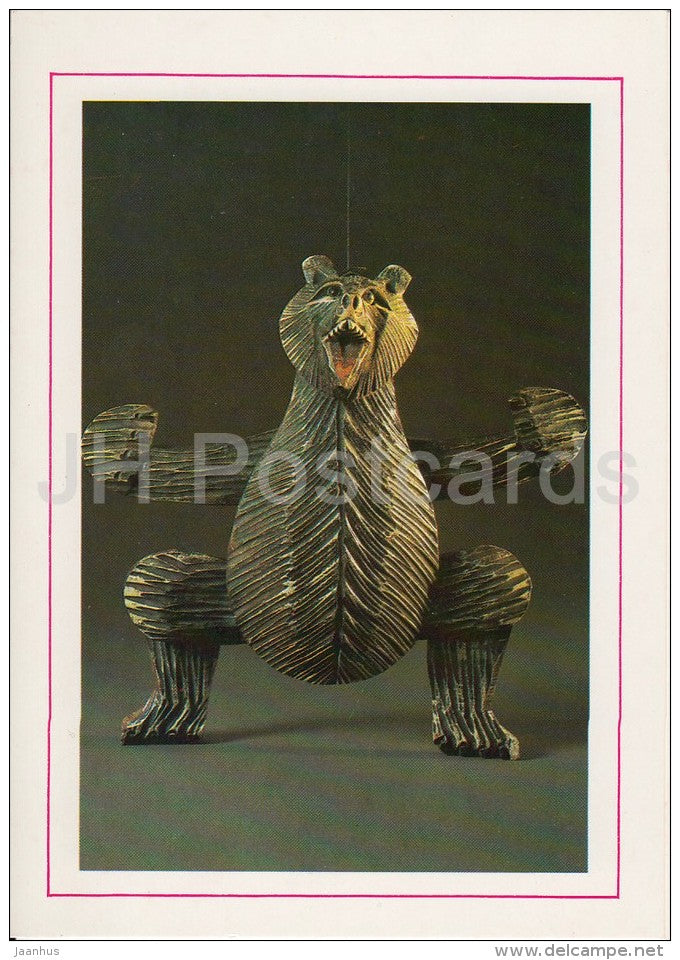 Tinted Carved Wooden Figure of a Bear - Russian Folk Toy - 1988 - Russia USSR - unused - JH Postcards
