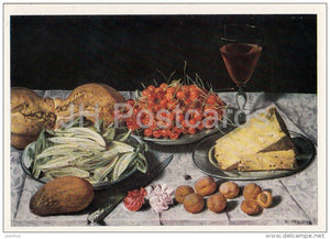 painting by Joseph Plepp - Still Life , 1632 - cheese - cherry - wine - Swiss art - Russia USSR - old postcard - unused - JH Postcards