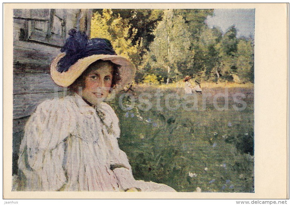 painting by V. Serov - In the Summer (Artist´s Wife) , 1895 - hat - Russian art - 1961 - Russia USSR - unused - JH Postcards