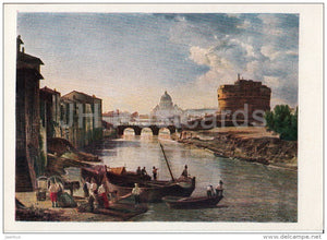 painting by S. Shchedrin - New Rome . Castel Sant'Angelo - Russian art - 1958 - Russia USSR - unused - JH Postcards
