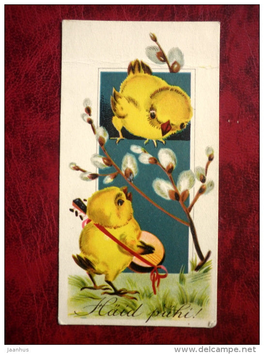 Easter card - chicken - mini card - Estonia - 1920s-1930s - used - JH Postcards