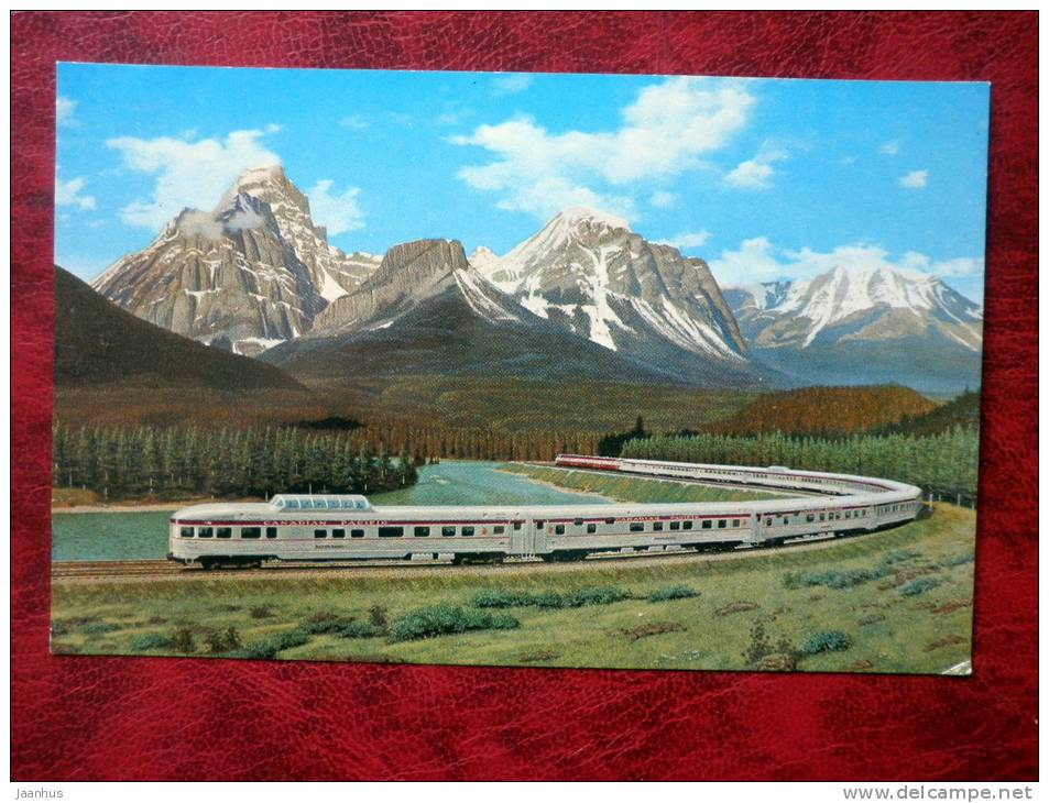 Canadian Pacific´s All Stainless Steel Scenic Dome Streamliner - train - Bow River, Temple Mountain - Canada - use - JH Postcards