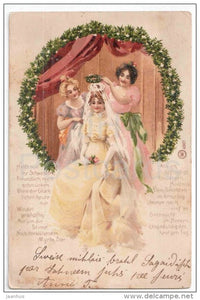 illustration - queen - coronation - W 4907 - circulated in Imperial Russia Latvia Maiorenhof 1903 - JH Postcards
