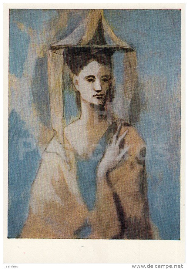 painting by Picasso - Spaniard from the island Mallorca - woman - hat - Spanish Art - 1963 - Russia USSR - unused - JH Postcards