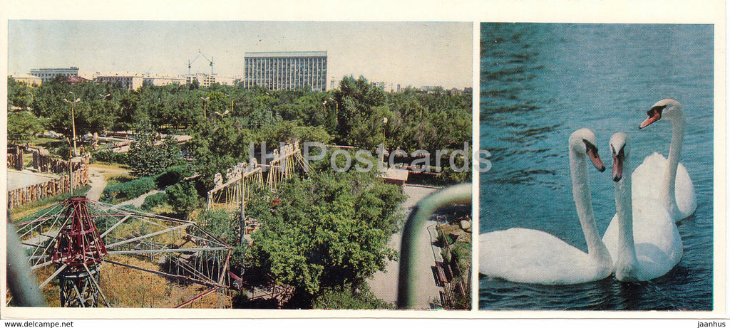 Kostanay - Park of Culture and Rest - Tivoli - swan - birds - 1985 - Kazakhstan USSR - unused - JH Postcards