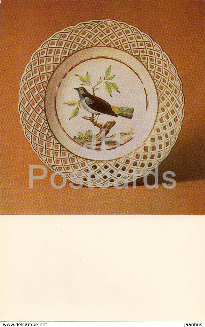 Decorative Plate - bird - porcelain - Vinogradov Porcelains - 1974 - Russia USSR - unused - JH Postcards