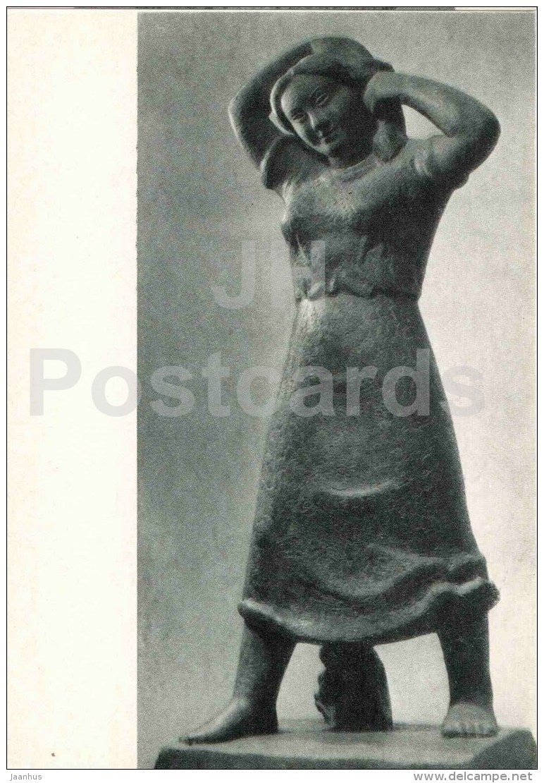 sculpture by Juozas Mikenas - Village Girl , 1938 - lithuanian art - unused - JH Postcards