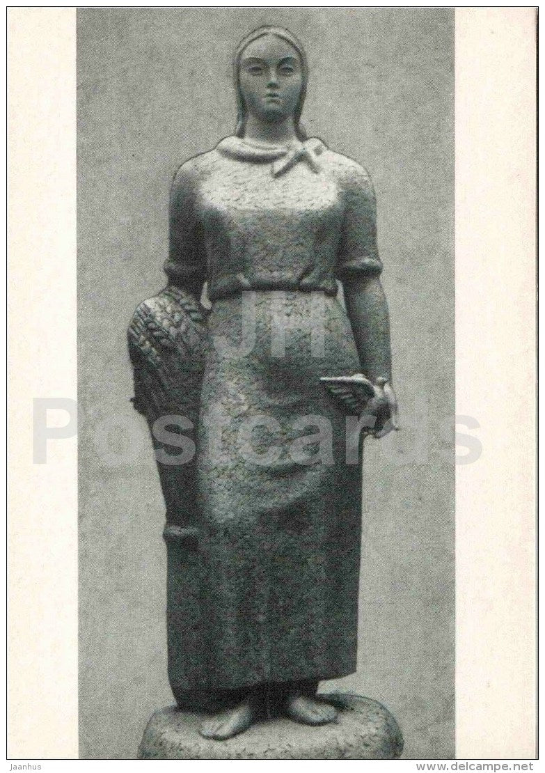 sculpture by Juozas Mikenas - Litva , 1939 - woman - lithuanian art - unused - JH Postcards