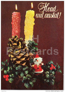 New Year Greeting card - 1 - candles - cone - 1982 - Estonia USSR - used - JH Postcards