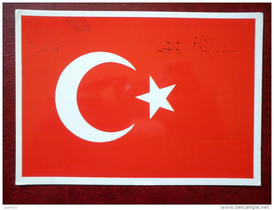 Turkish flag - sent from Turkey to Estonia SSR in 1992  - used - JH Postcards