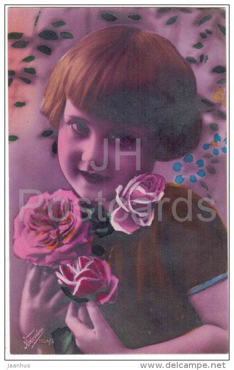 child with roses - flowers - Fotocelere 1754/2 - circulated in Estonia 1929 - JH Postcards