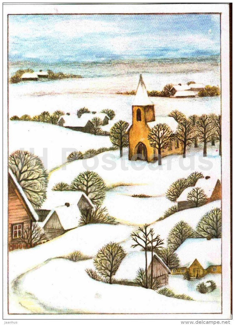 New Year Greeting card by Anne Arus - illustration - town view - church - 1990 - Estonia USSR - used - JH Postcards