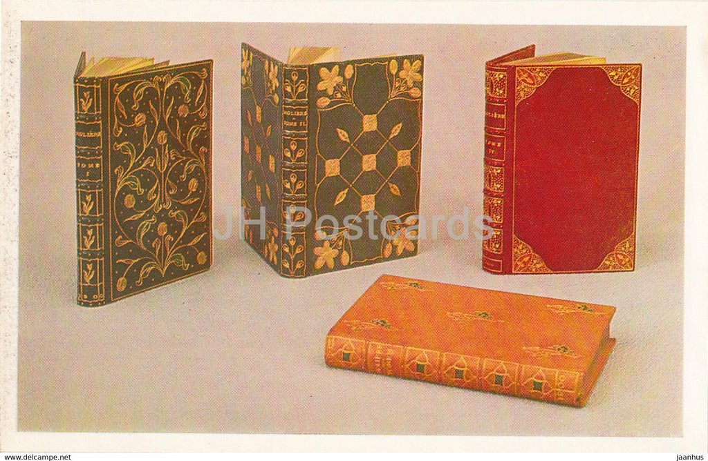 Book Covers of OEuvres completes de Moliere - leather - English Applied Art - 1983 - Russia USSR - unused - JH Postcards