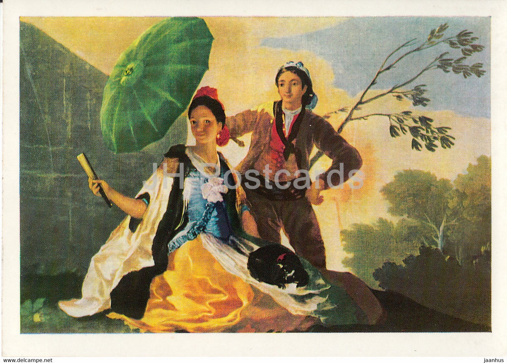 painting by Francisco Goya - Der Sonnenschirm - The Parasol - 1188 - Spanish art - Germany DDR - unused - JH Postcards