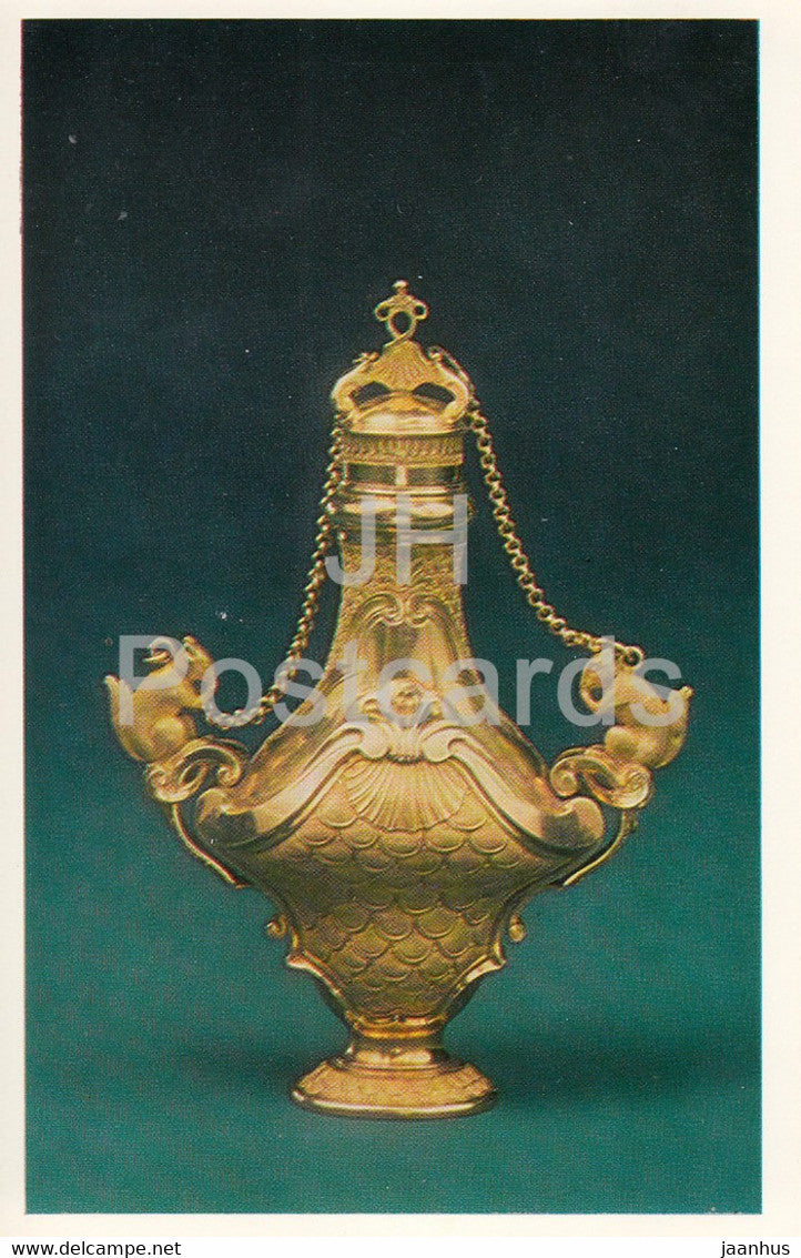 Jewels - Gold Scent Bottle - England 18th Century - The Hermitage - Leningrad - Russia - USSR - 1982 - used - JH Postcards