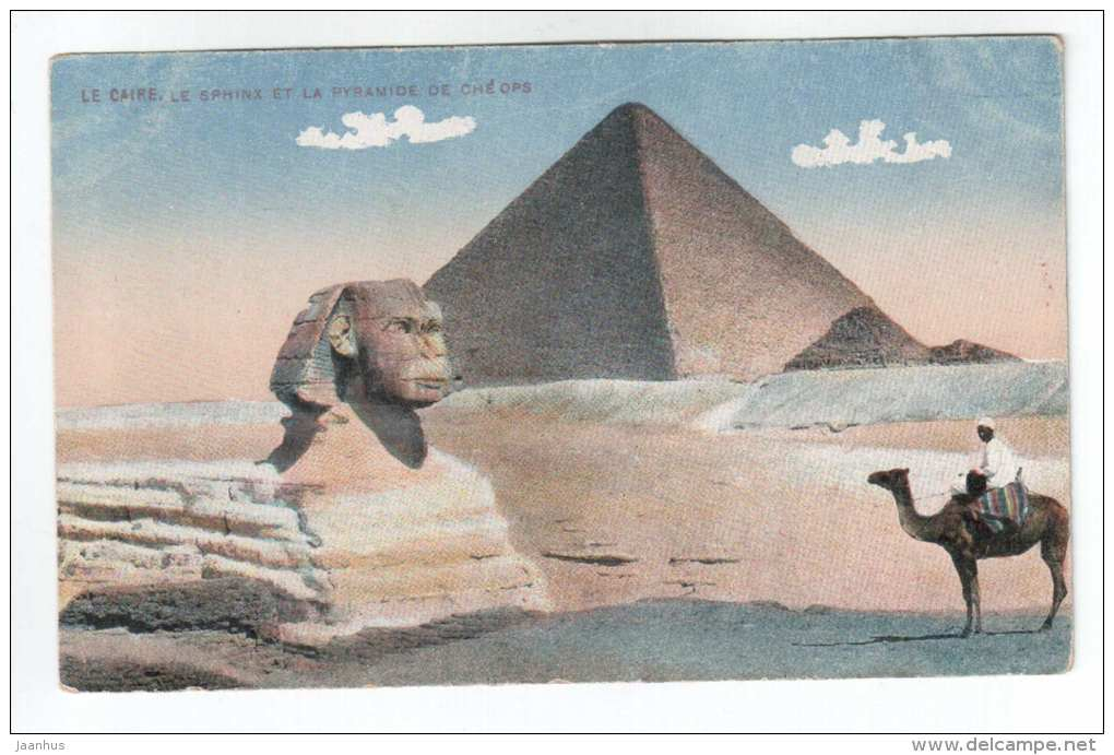 Le Sphinx et la Pyramide de Cheops - camel - old postcard - Egypt - unused - JH Postcards
