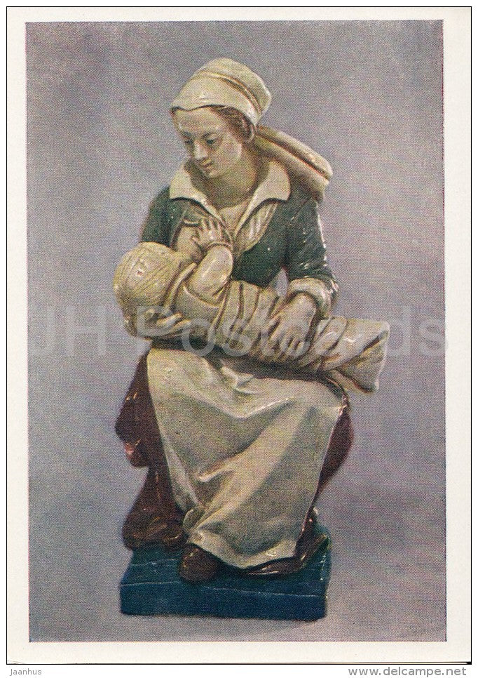 pottery by Master from Avon - Nurse - faience - French art - 1963 - Russia USSR - unused - JH Postcards