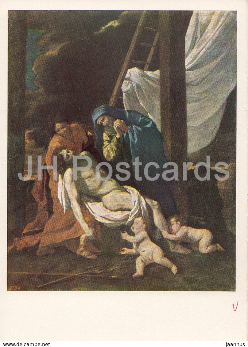 painting by Nicolas Poussin - The Descent from the Cross - French art - 1966 - Russia USSR - unused - JH Postcards