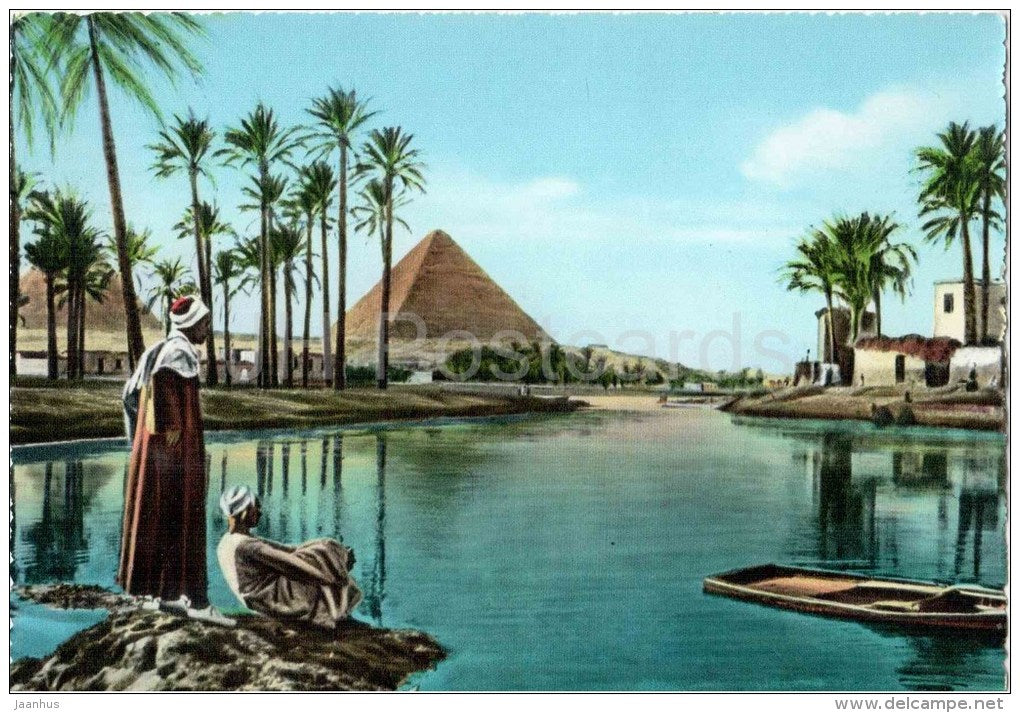 The Pyramids during Nile Flood - No. 5 - palm - El Giza - old postcard - Egypt - unused - JH Postcards