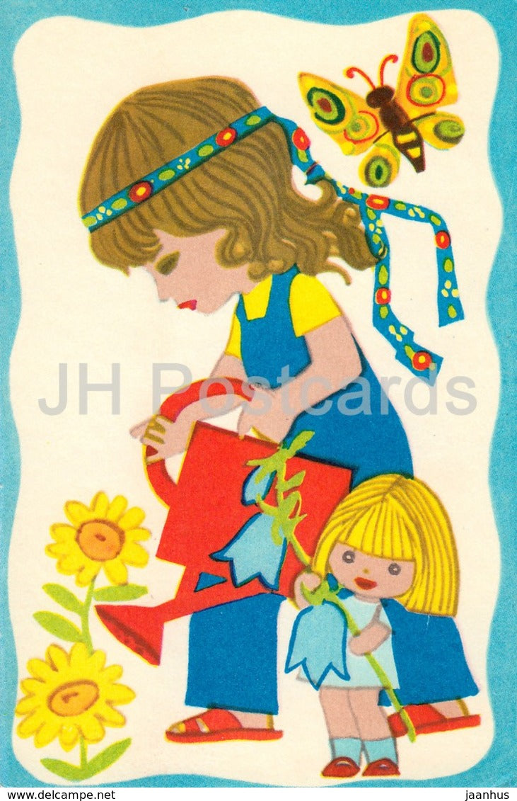illustration by M. Fuks - Day of Triinu - children - watering flowers - butterfly - 1975 - Estonia USSR - unused - JH Postcards