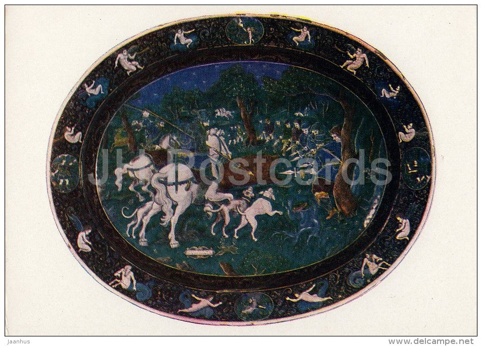 pottery - Jean Limosin - Dish with a picture of a hunting scene - French art - 1963 - Russia USSR - unused - JH Postcards