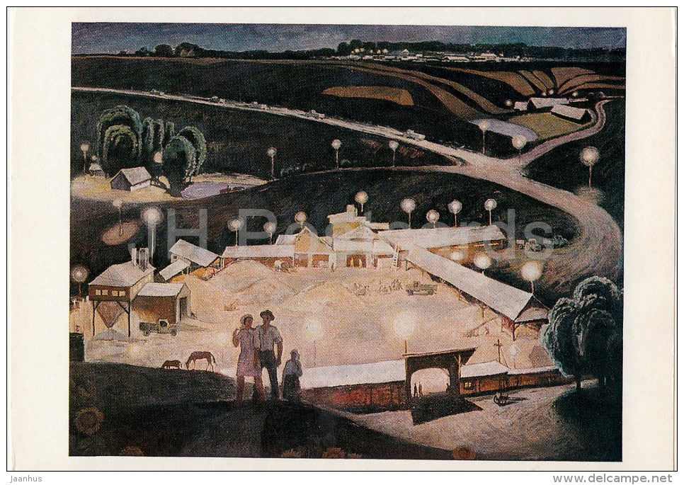 painting by I. Vieru - Night in July , 1971 - couple - Moldavian art - Russia USSR - 1978 - unused - JH Postcards