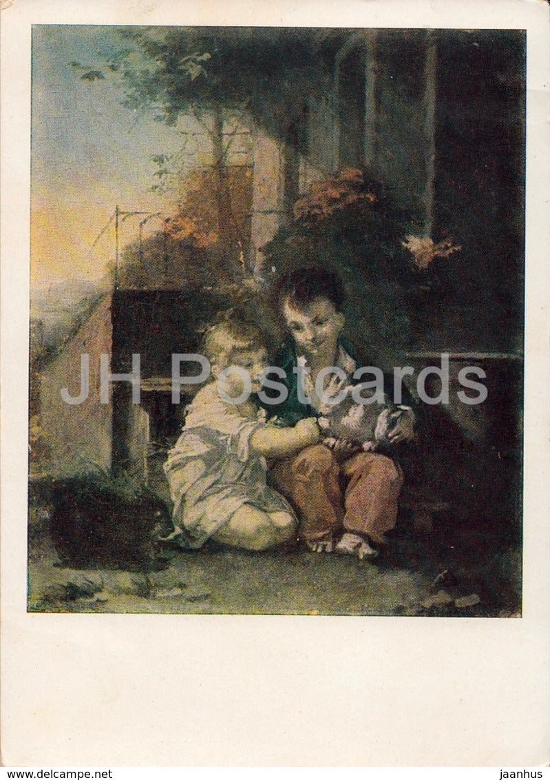 painting by Pierre-Paul Prud'hon - Children with Rabbit - French art - 1962 - Russia USSR - unused - JH Postcards