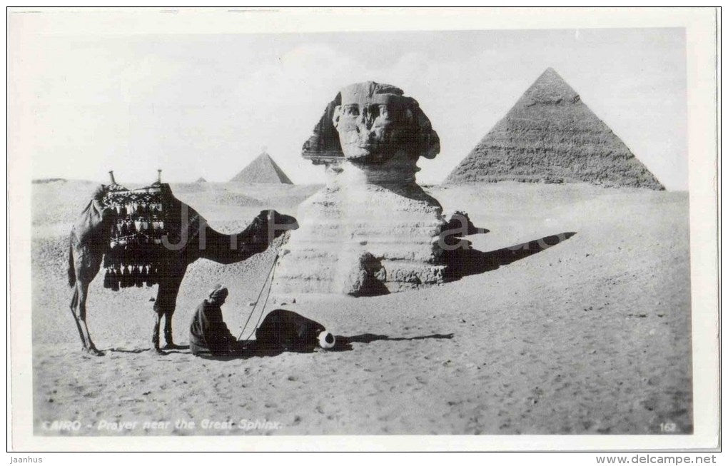prayer near the Great Sphinx - 162 - camel - El Giza - Cairo - old postcard - Egypt - unused - JH Postcards